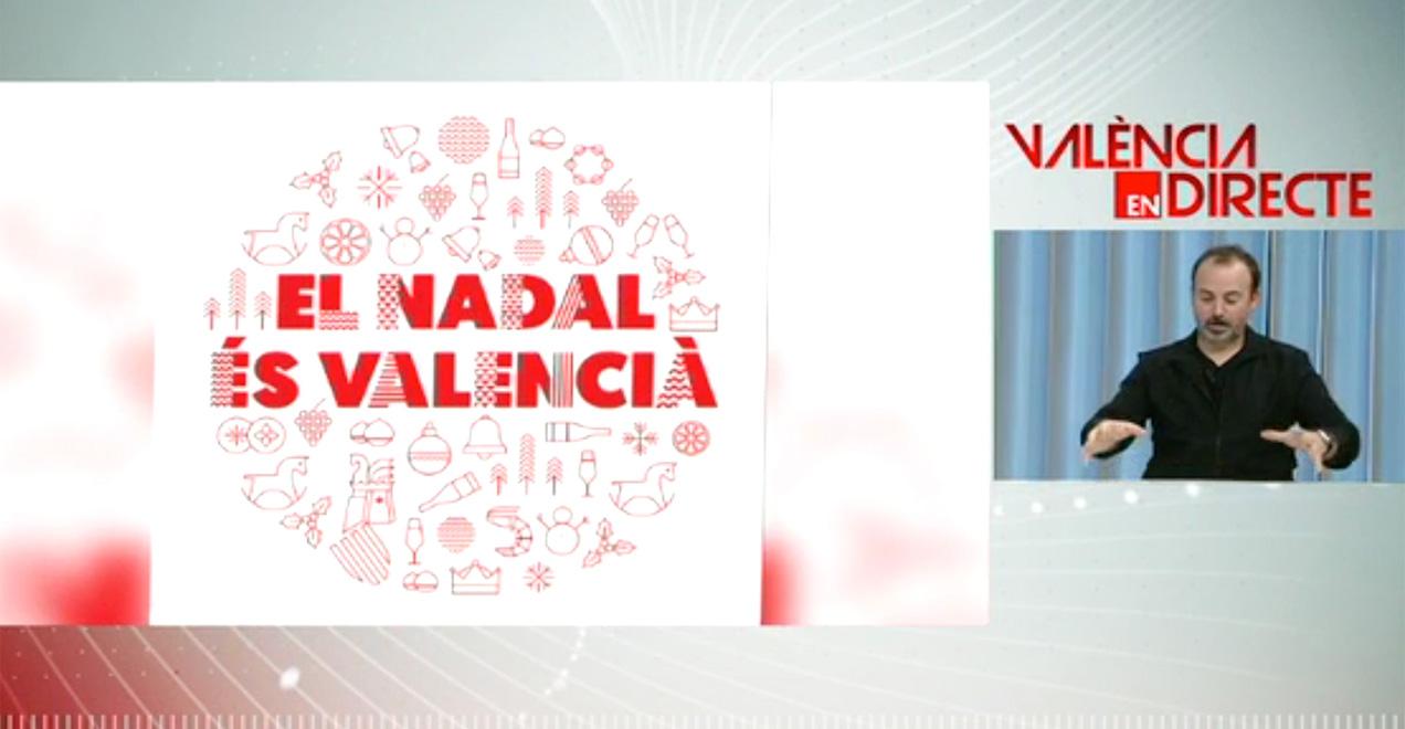 Xavi Calvo en Levante TV presentando la campaña de Navidad de la Generalitat Valenciana.